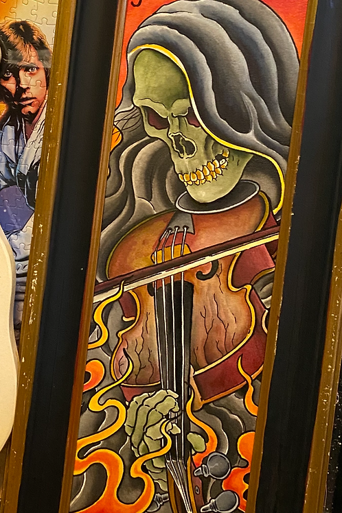"""Reaper fiddler (watercolor and ink on arches, 6""""x 18 paper size)"""