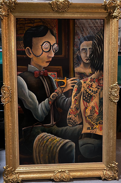 "The old time tattooist Amund Dietzel (framed oil on board 46""x36"")"