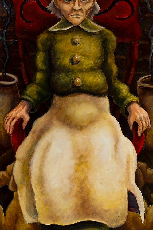 "Mean Granny (framed oil on board 32""x19"")"
