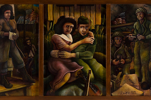 "The Fateful Two (framed 3 panels oil on board 35""x62"")"