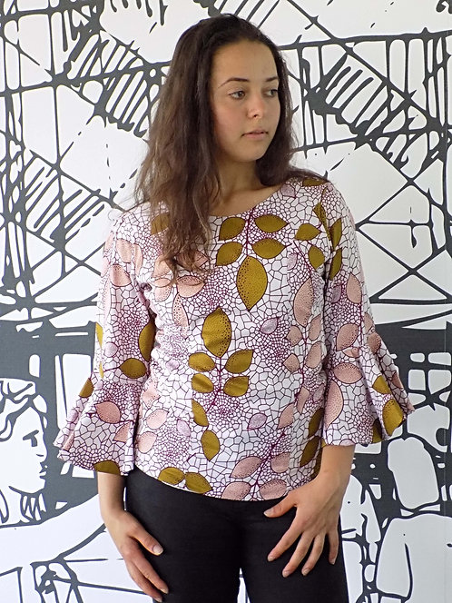 Ankara African Print Ladies Top Blouse - Flared Sleeve Blouse