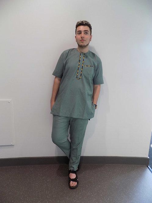 African Men Clothing, African Men Shirt - Khaki Complete Suit