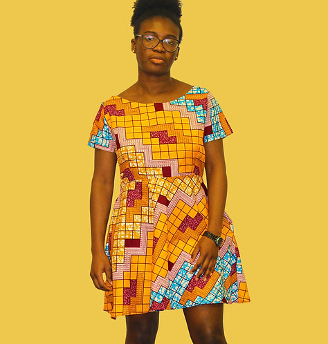 African Print Fitted and Flare Midi Dress