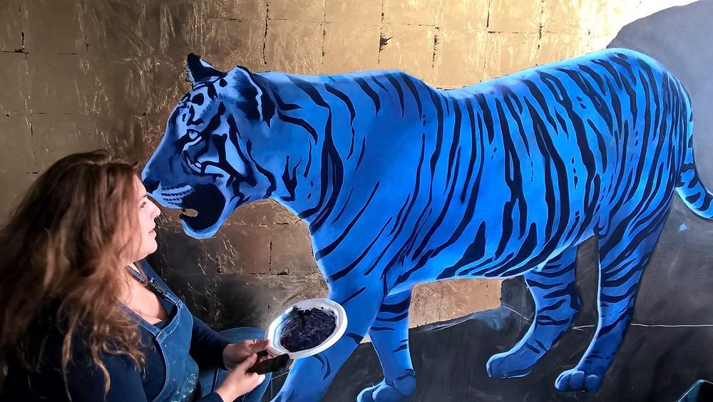 Les animaux du Livre de la Jungle de R.Kipling, en monochromes bleus et sur des toiles grands formats ! Ici, le premier de la série SHERE KHAN !
