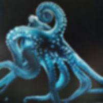 Octopus . huile sur toile . 150 x150 cm / Sabine Ducarn