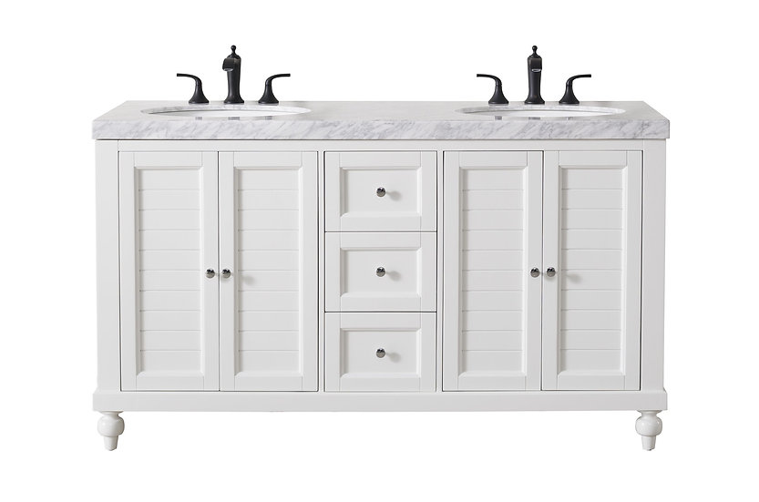 """Kent 60"""" White Double Sink Vanity with Drains and Faucets in Matte Black"""