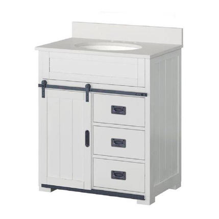 Model #69 Morriston 30-in White Undermount Single Sink Bathroom Vanity with White Engineered Stone Top