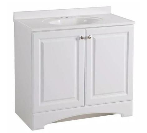 Model #16 - 36.50 in. W x 18.68 in. D Bath Vanity in White with Cultured Marble Vanity Top in White with White Basin