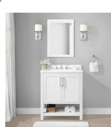 Model #15 30-in White Undermount Single Sink Bathroom Vanity with White Engineered Stone Top (Mirror Included)