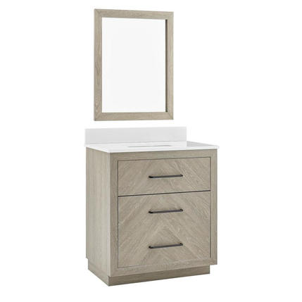 Model # 42 Weathered Oak Undermount Sink with White Engineered Stone Top (Mirror Included)