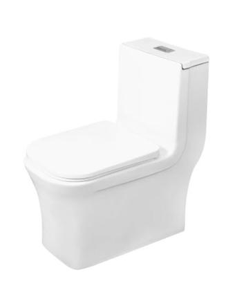 Model #4 ONE PIECE SQUARE TOILET WITH SOFT CLOSING SEAT AND DUAL FLUSH HIGH-EFFICIENCY, PORCELAIN, WHITE FINISH, HEIGHT 28-3/4 INCHES (BSN-835)