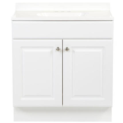 Model #30 30-in White Single Sink Bathroom Vanity with White Cultured Marble Top