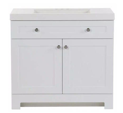 Model #15 Vanity in White with Cultured Marble Vanity Top in White with White Basin