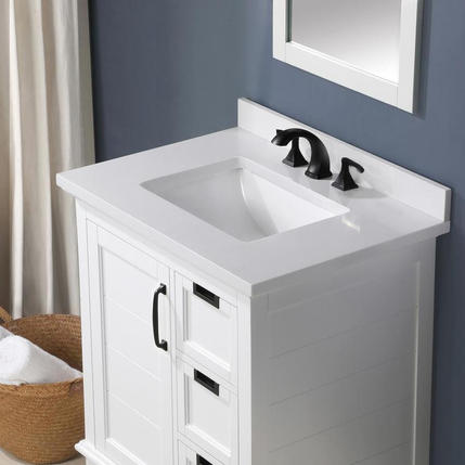 Model #64 allen + roth 30-in White Undermount Single Sink Bathroom Vanity with White Engineered Stone Top