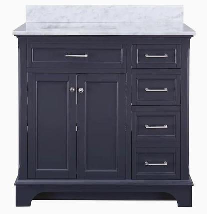 Model #26 - 36-in Dark Gray Undermount Single Sink Bathroom Vanity with Natural Carrara Marble Top