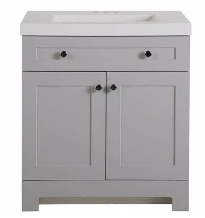 Model #20 Vanity in Pearl Gray with Cultured Marble Vanity Top in White with White Basin