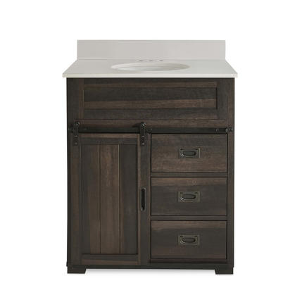 Model #65 Morriston 30-in Distressed Java Undermount Single Sink Bathroom Vanity with White Engineered Stone Top