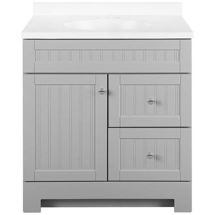 Model #71 Ellenbee 30-in Gray Single Sink Bathroom Vanity with White Cultured Marble Top