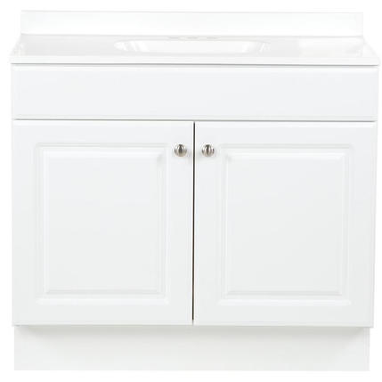 Model #28 - 36-in White Single Sink Bathroom Vanity with White Cultured Marble Top