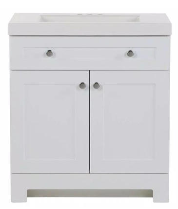 Model #21 Vanity in White with Cultured Marble Vanity Top in White with White Basin