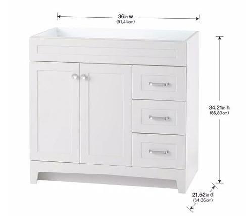 Model #20 Thornbriar 36 in. W x 21 in. D Bathroom Vanity Cabinet in Polar White