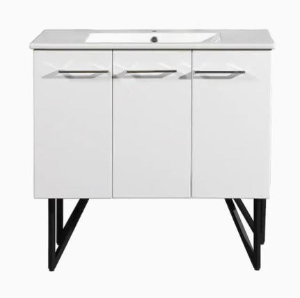 Model #35 - Annecy 36-in Glossy White Single Sink Bathroom Vanity with Glossy White Ceramic Top