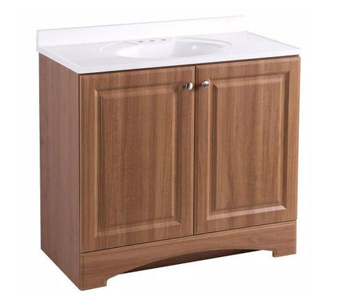 Model #21 Bath Vanity in Golden Pecan with Cultured Marble Vanity Top in White with White Basin