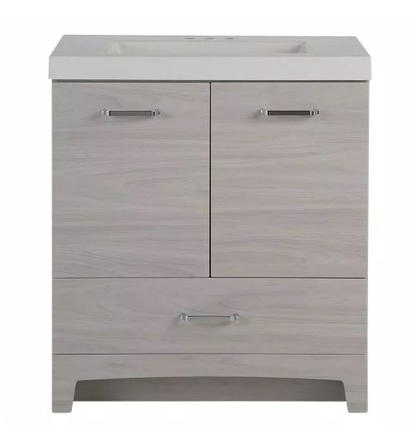 Model #25 Vanity in Elm Sky with Cultured Marble Vanity Top in White with White Basin