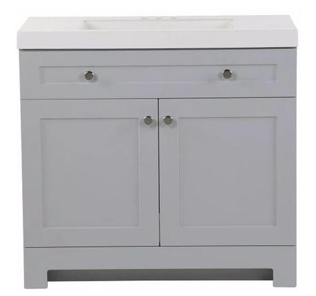 Model #14 Vanity in Pearl Gray with Cultured Marble Vanity Top in White with White Basin
