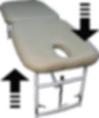 Atmosphere massage table with EasyLift legs. Hight can be easily changed whilst client is on the table