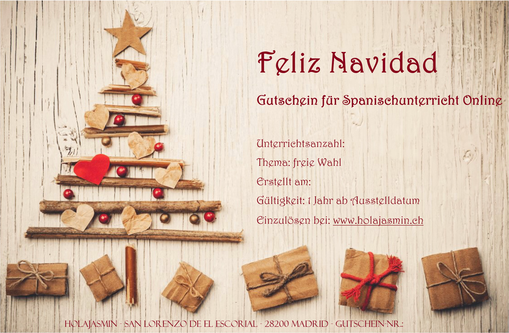Gutschein Feliz Navidad HolaJasmin.png