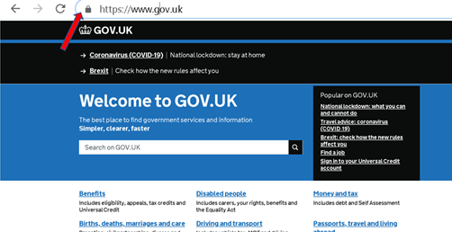 HMRC official website starting with https and with a padlock