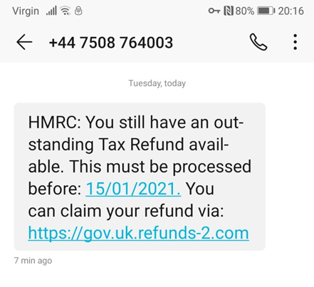 Unexpected HMRC Tax Refund Scam with urgent message and link