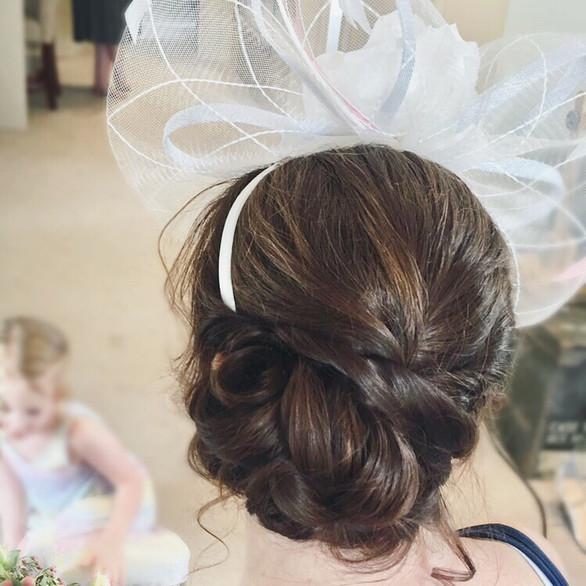 Textured side bun updo