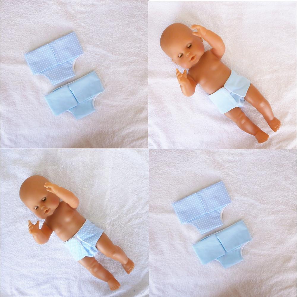 Couches bleues pour poupon de 36 cm