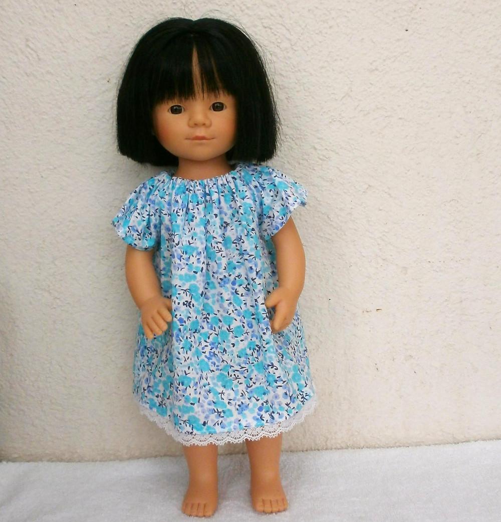 Chemise de nuit bleue et turquoise pour Marietta