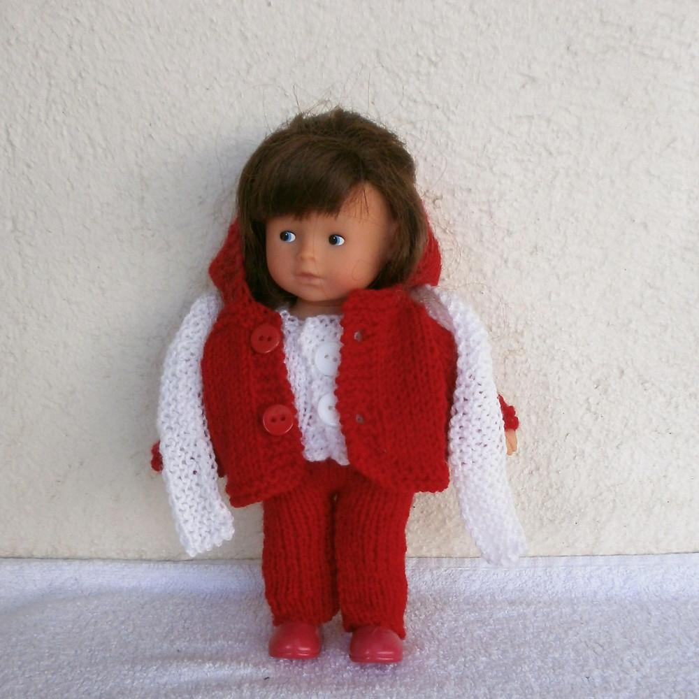 Tenue hiver rouge et blanche pour mini Corolline