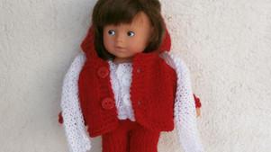 Mini Corolline - tenue d'hiver rouge et blanche
