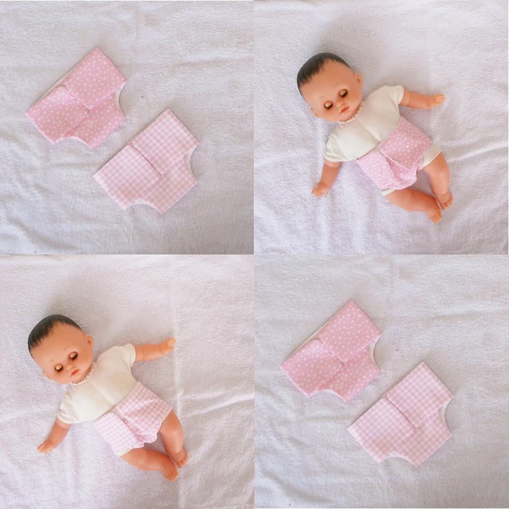 Deux couches roses en tissu pour poupon Petitcollin