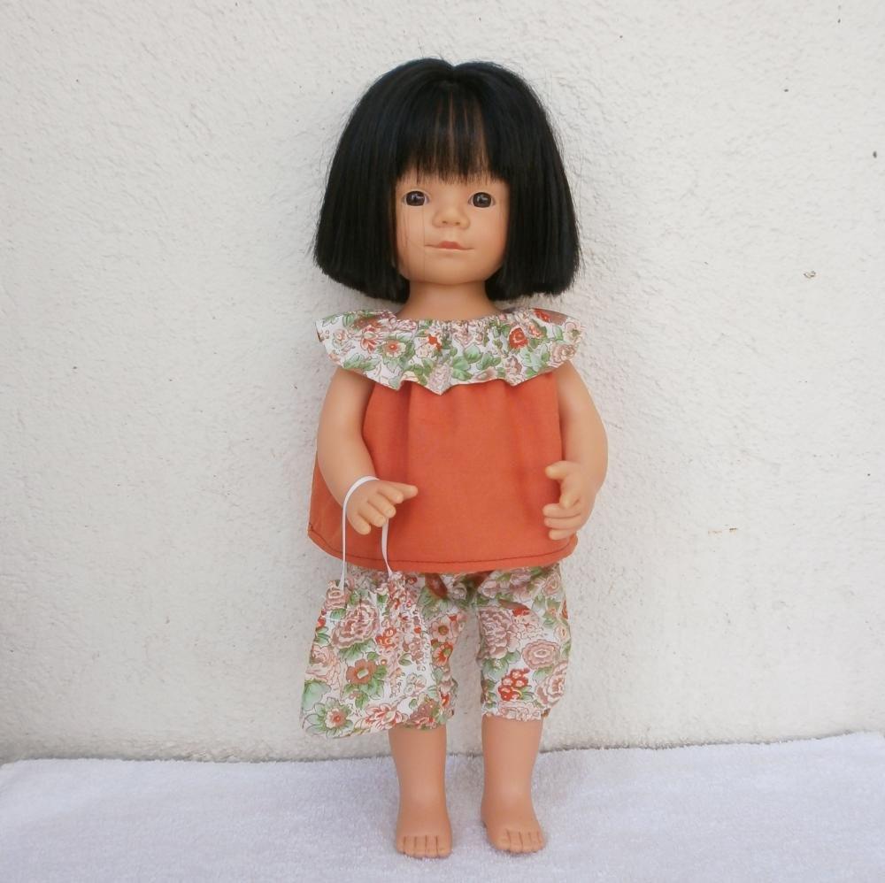 Pour poupée Marietta, une tenue d'été Liberty tons orange et vert