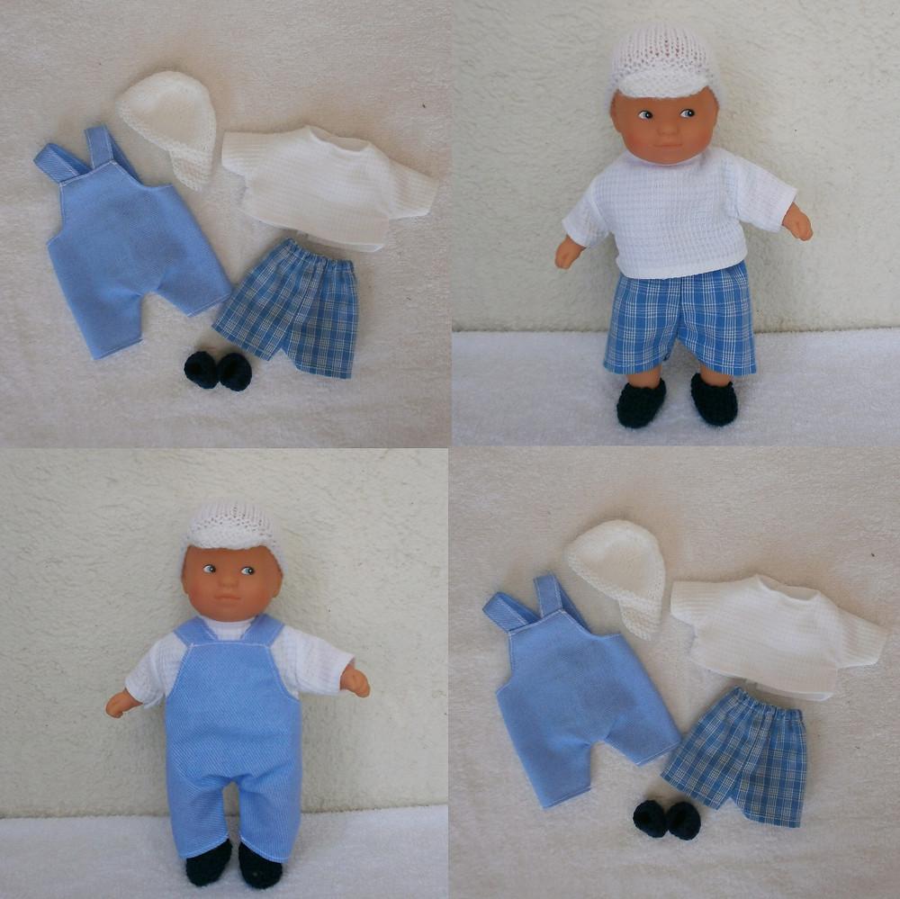 """""""Les Pitchouns"""", lot d'habits bleu et blanc pour mini poupon (bleu)"""
