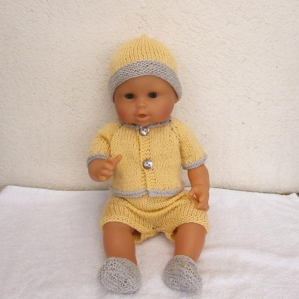 Ensemble jaune et gris pour poupon de 36 cm