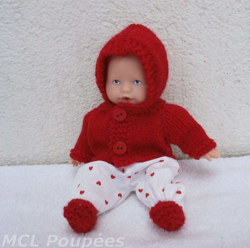 Tenue d'hiver rouge pour mini poupon 20 cm