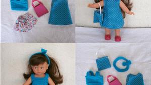 Vêtements pour mini Corolline : Fleurs et pois (bleu, fuschia)