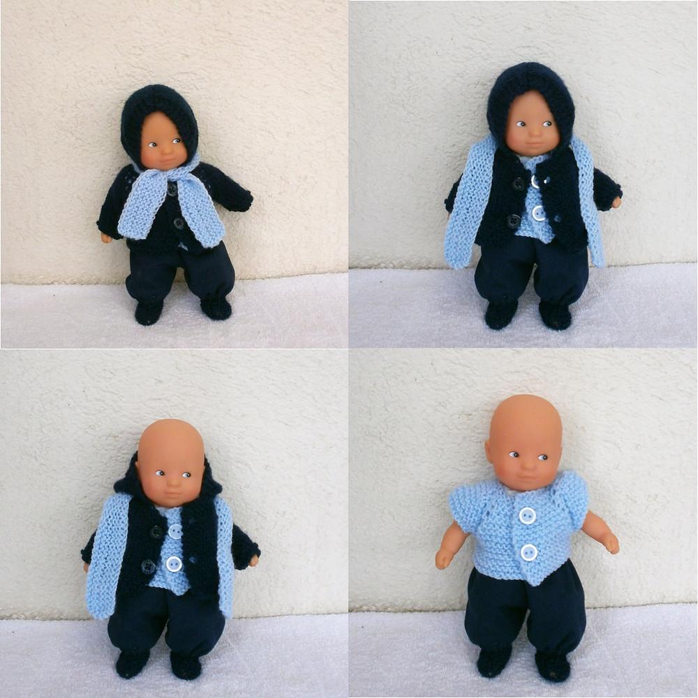 """Ensemble """"Les Frileux"""" pour mini poupon (bleu)"""