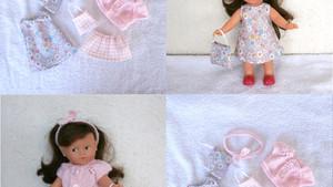 Lot de vêtements pour mini Corolline - fleurs et carreaux (rose pastel)