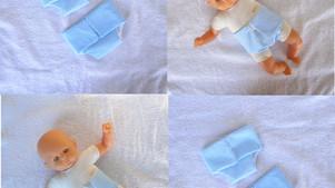 Lot de 2 couches bleues pour poupon de 30 cm (unie, pois)
