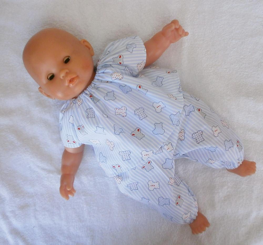 Pour poupon Corolle de 36 cm, pyjama bleu motifs oursons