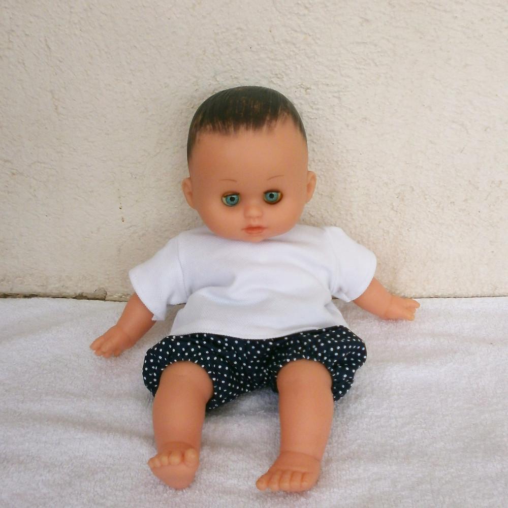 Bloomer bleu marine à pois et T-shirt blanc pour Petit Câlin