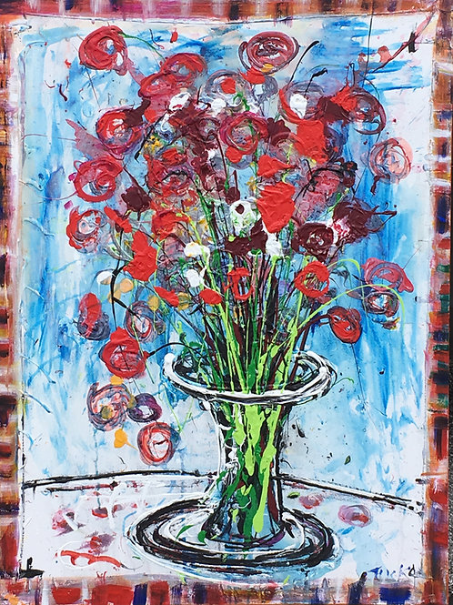 roses in vase 30 by 40